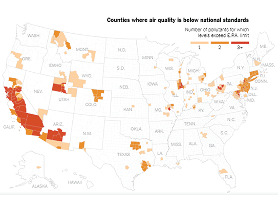 #WednesdayWisdom - Great article on air pollution and national standards. Are you at risk? Air #pollution causes many #health issues and premature death. Check the map to see if where you live falls below the national standard. http://ow.ly/Jeop50uILV8