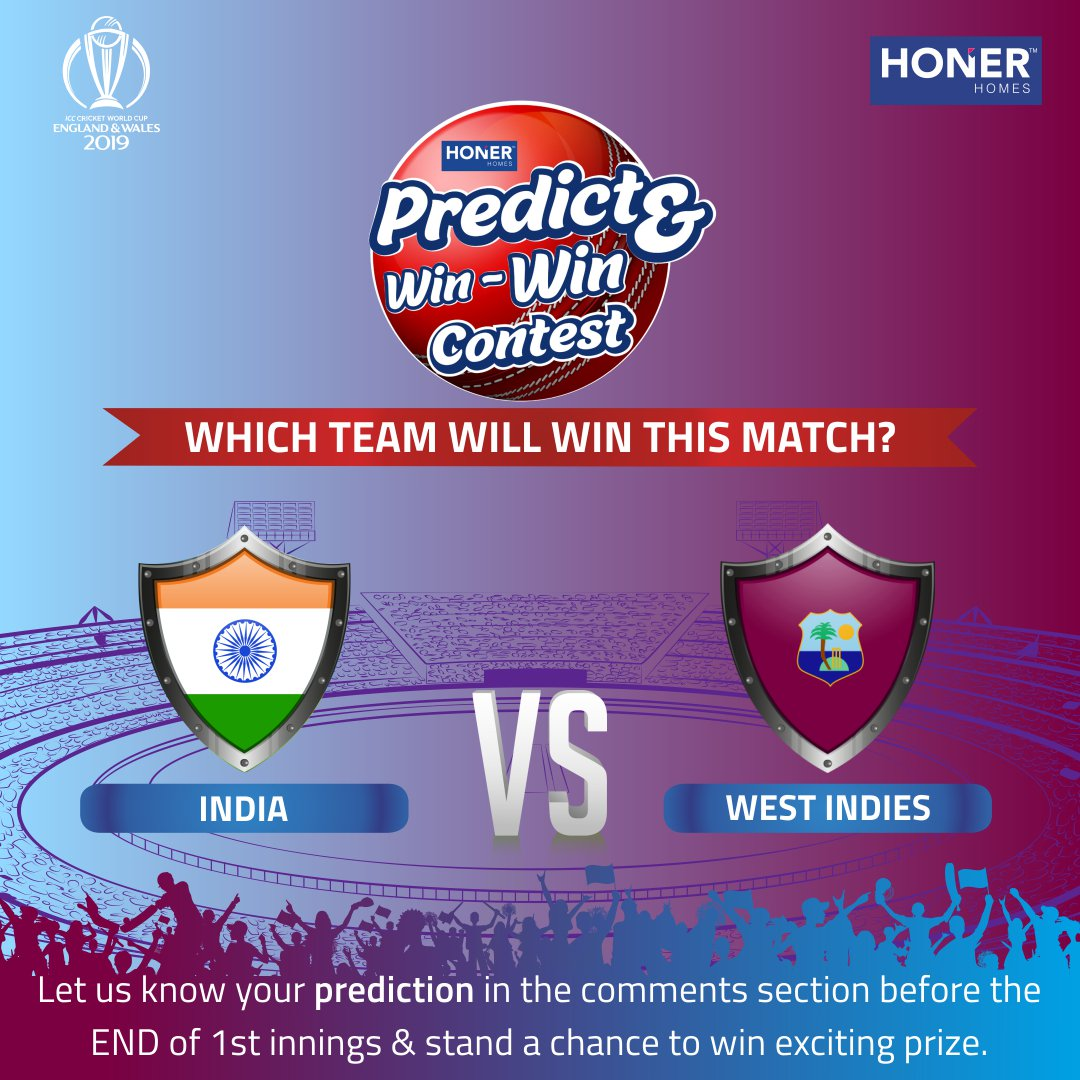 #WorldCupWithHoner #PredictAndWin #Contest #ContestAlert #CricketWorldCup #CWC19 #INDvsWI #IND #WI #CWC2019 #WorldCup2019 #CricketWorldCup2019 #Honer #HonerHomesINDIA's winning streak has continued so farAre you ready for the power-packed match?who do you think will win?