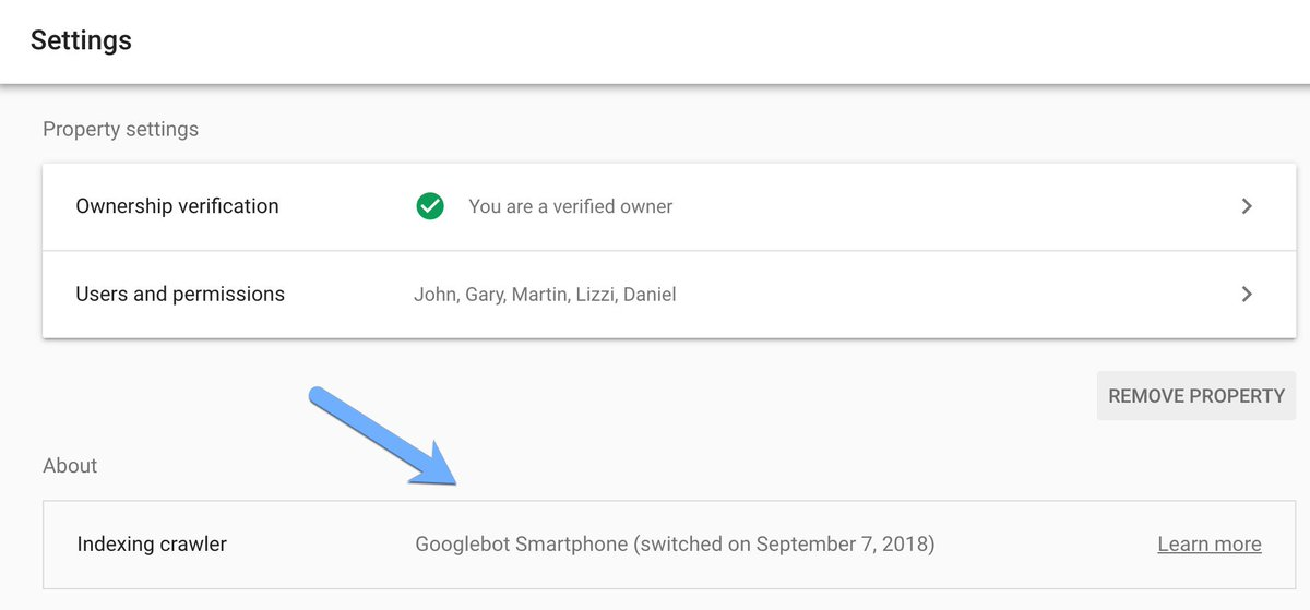 Google Search Console Setting tab showing primary crawler agent as Googlebot Smartphone.