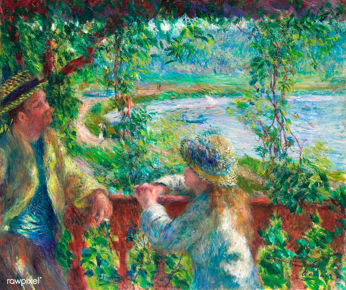 Near the Lake (1879–1890) by Pierre-Auguste Renoir. Original from The Art Institute of Chicago. Digitally enhanced by rawpixel. Download this image: http://rawpixel.com/board/894911/pierre-auguste-renoir…