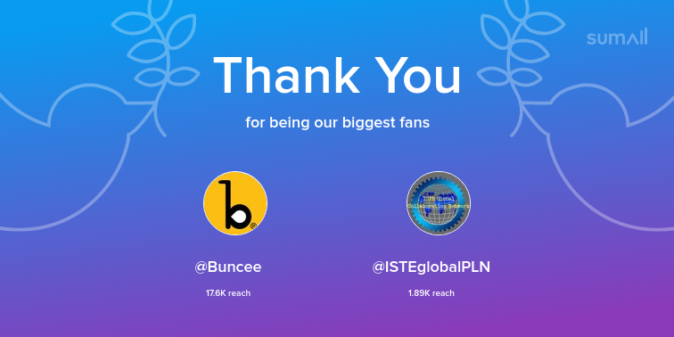 Our biggest fans this week: Buncee, ISTEglobalPLN. Thank you! via sumall.com/thankyou?utm_s…