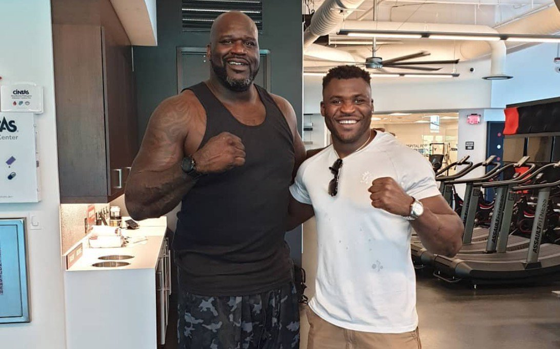 """""""Holy sh*t! ... Now I feel how some people feel about me!""""  @Francis_Ngannou recalls meeting @SHAQ for the first time at the UFC Performance Institute. 😂 #UFCMinneapolis"""