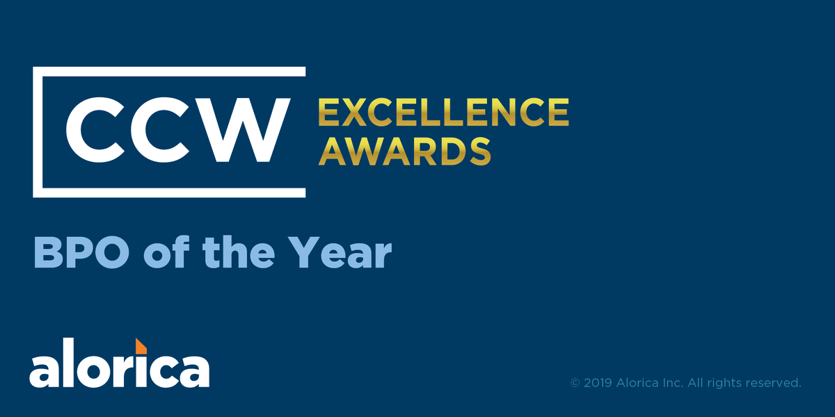 Another awesome #Alorica accolade! We are honored to have received BPO PROVIDER OF THE YEAR at this year's @CustContactWeek Excellence Awards! Learn more here: https://t.co/VIM2m4QQPh #thekudoskeepcoming #CCWVegas19 #customercontactweek https://t.co/PjobD1jno6