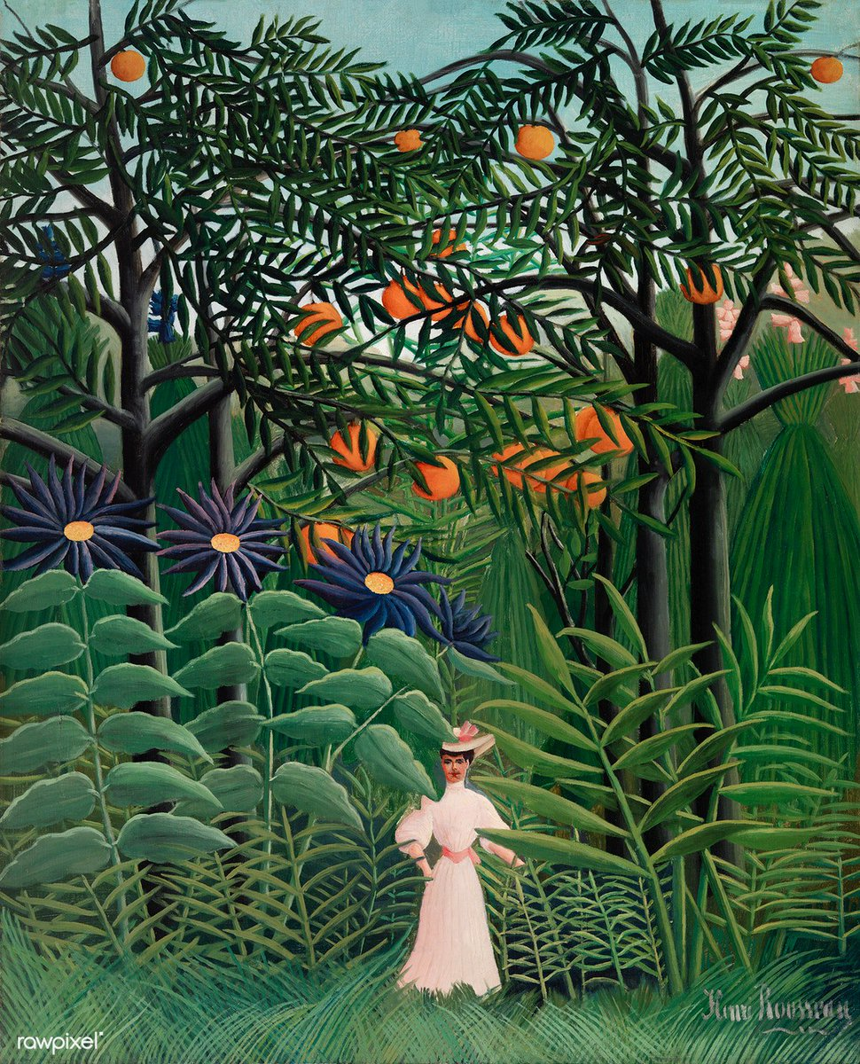 Woman Walking in an Exotic Forest (Femme se promenant dans une forêt exotique) (1905) by Henri Rousseau. Original from Barnes Foundation. Digitally enhanced by rawpixel. Download this image: http://rawpixel.com/board/1054552/henri-rousseau…