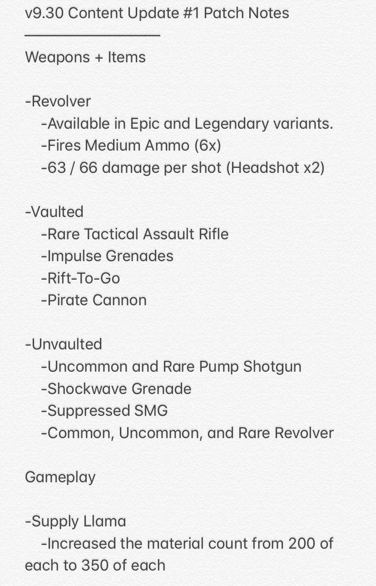 V930 Content Update 1 Patch Notes Fortnite Fortnitebr