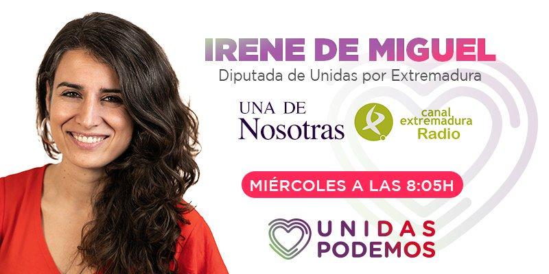 Esta tarde, a partir de las 20:05, entrevista a @Irenirima en el programa Una De Nosotras de Canal Extremadura Radio de @cextremadura Podéis seguirla aquí 👇 canalextremadura.es/radio/directo