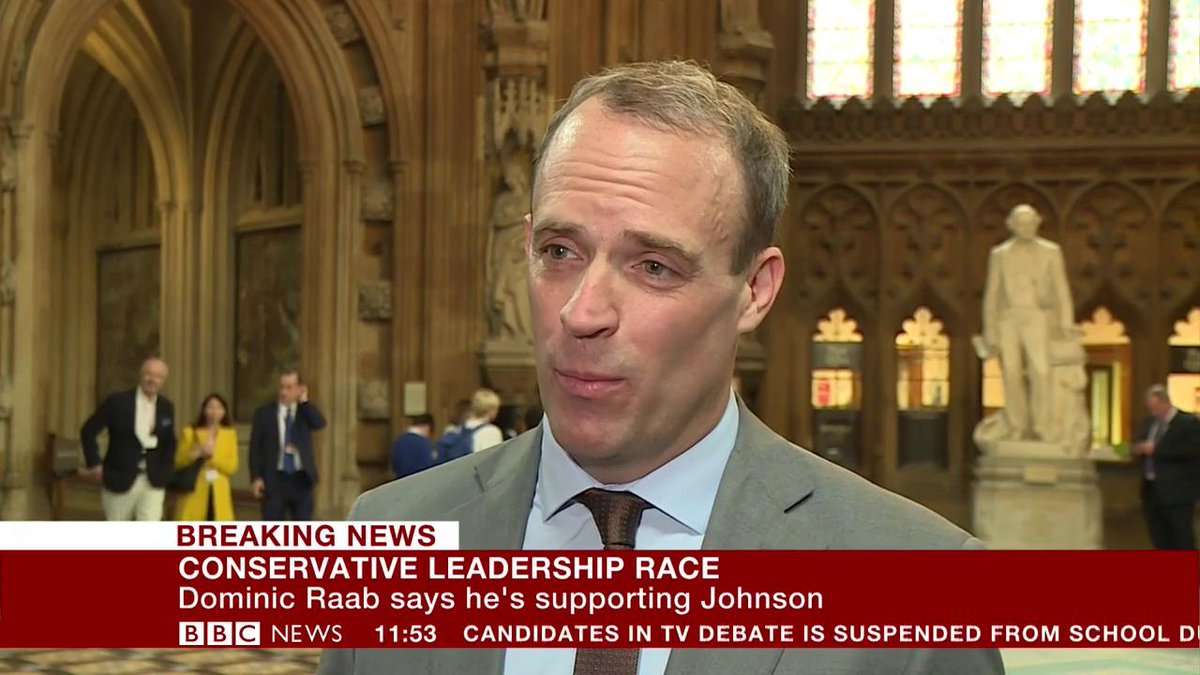 """Former #Brexit secretary Dominic Raab backs Boris Johnson in the Tory leadership race, saying the frontrunner is """"absolutely committed"""" to taking the UK out of the EU on 31 October  http://bbc.in/2XXW71p"""
