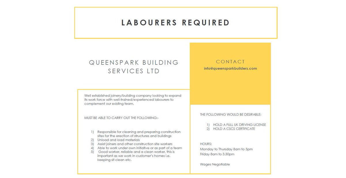 Labourers required with Queenspark Builders in #Glasgow Driving licence and CSCS card desirable. To apply, email info@queensparkbuilders.com #GlasgowJobs #Newlands