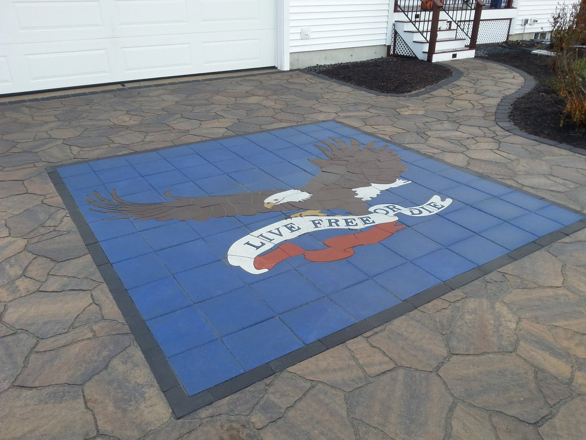 Live Free or Die, a custom #paverart from a few years back.  imagine.  create.  beautify #landscapedesign #patio #outdoorliving #hardscapebrotherhood #Madeinusa <br>http://pic.twitter.com/1S93MY60RU