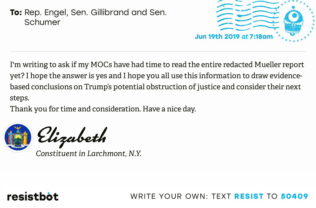 I just delivered this letter from Elizabeth in Larchmont, N.Y. to @RepEliotEngel, @GillibrandNY and @SenSchumer #NYpols #NYpolitics #Impeach