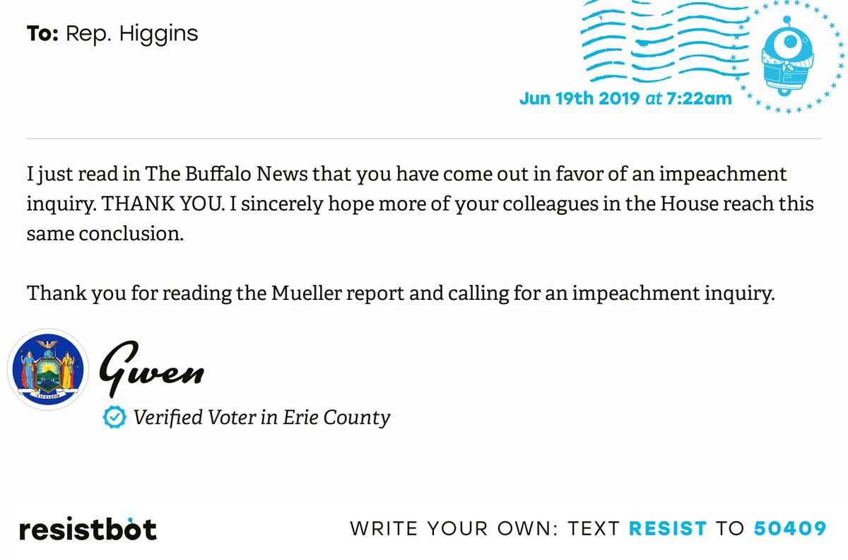 I just delivered this letter from Gwen in Buffalo, N.Y. to @RepBrianHiggins #NYpols #NYpolitics #Impeach