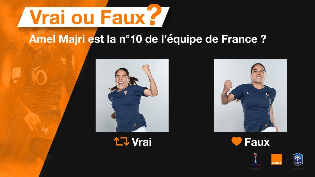 Que des numéros (...) dans ma team 🎶 🎟 Gagne tes places pour voir l@equipedefrance en 1/8ème en répondant à cette question : @AmelMajri7 porte-t-elle le numéro 🔟 des #Bleues durant cette #FIFAWWC ? 🔄 Retweet si cest oui ❤️ Like si cest non #OrangePasseurdEmotions