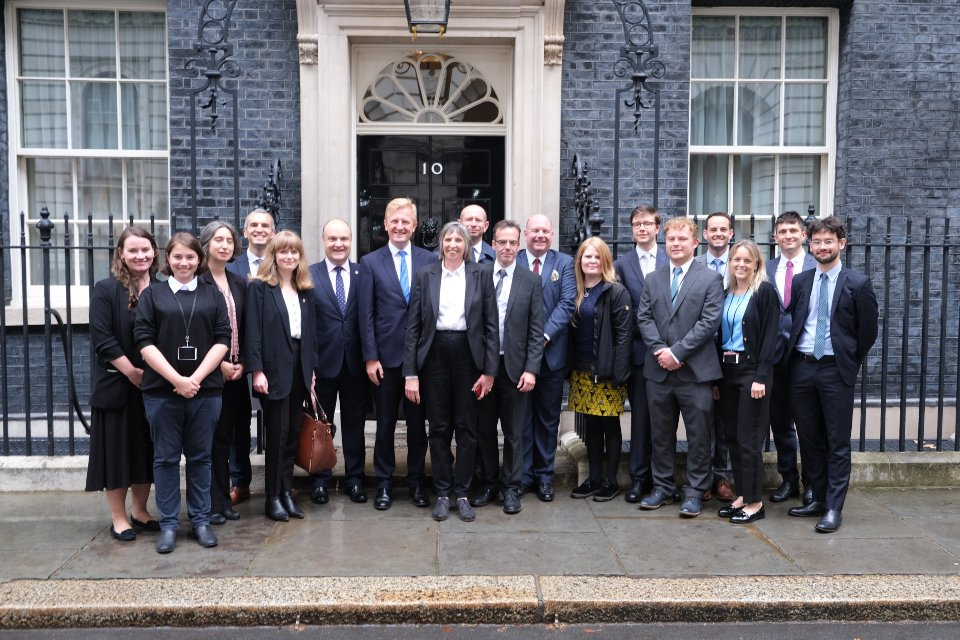 ANNOUNCEMENT: we're delighted to confirm today that our partners for the next three years will be @Bruneluni, @Uni_of_Essex, @LancasterUni and @UniOfYork. Here we are standing outside Downing Street yesterday after signing contracts. #evidence #policy #impact