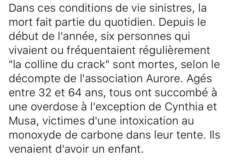 """Depuis le début de l'année, six toxicomanes sont morts autour de la """"colline du crack"""" à Paris. Trois d'entre eux étaient des sans-papiers. https://t.co/uHjCPIXCOG"""