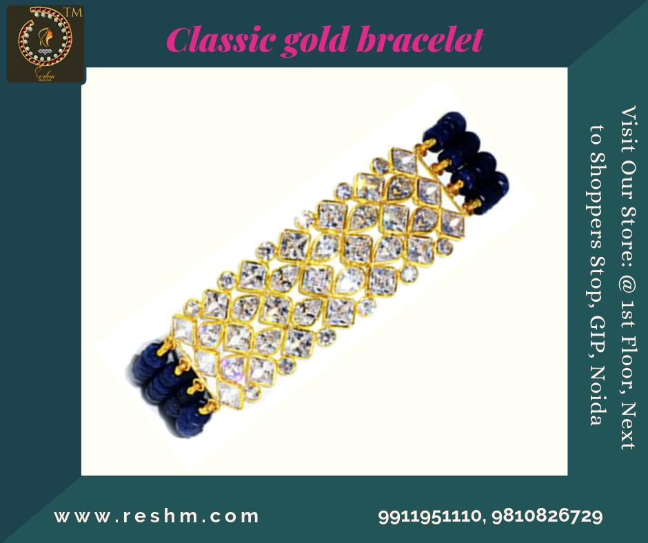 Classic Beads and Polki gold bracelet Shop now :  or Visit our store @ 1st Floor Next to Shoppers Stop GIP Noida #reshamm #Lightweightgoldjewellery #jewelleryinnoida #jewelleryindelhi #jewelleryinncr #goldlovers #jewelleryfans #fashion #designerjewellery