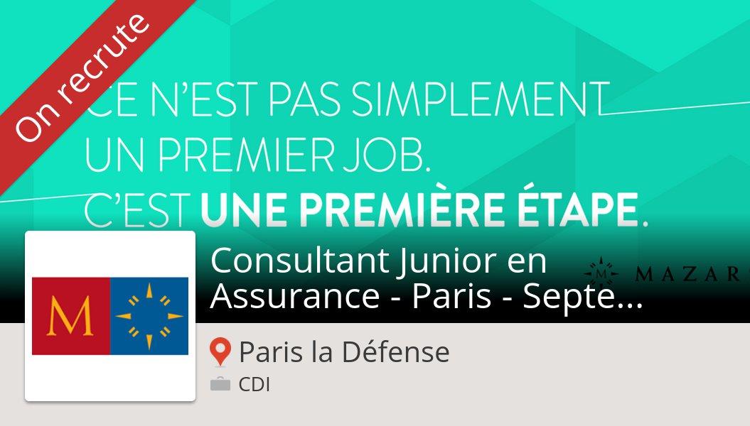Découvrez ce #job: Consultant #Junior en #Assurance - Paris - Septembre 2019 H/F chez #Mazars #ParislaDéfense https://workfor.us/mazarsfrance/l194…
