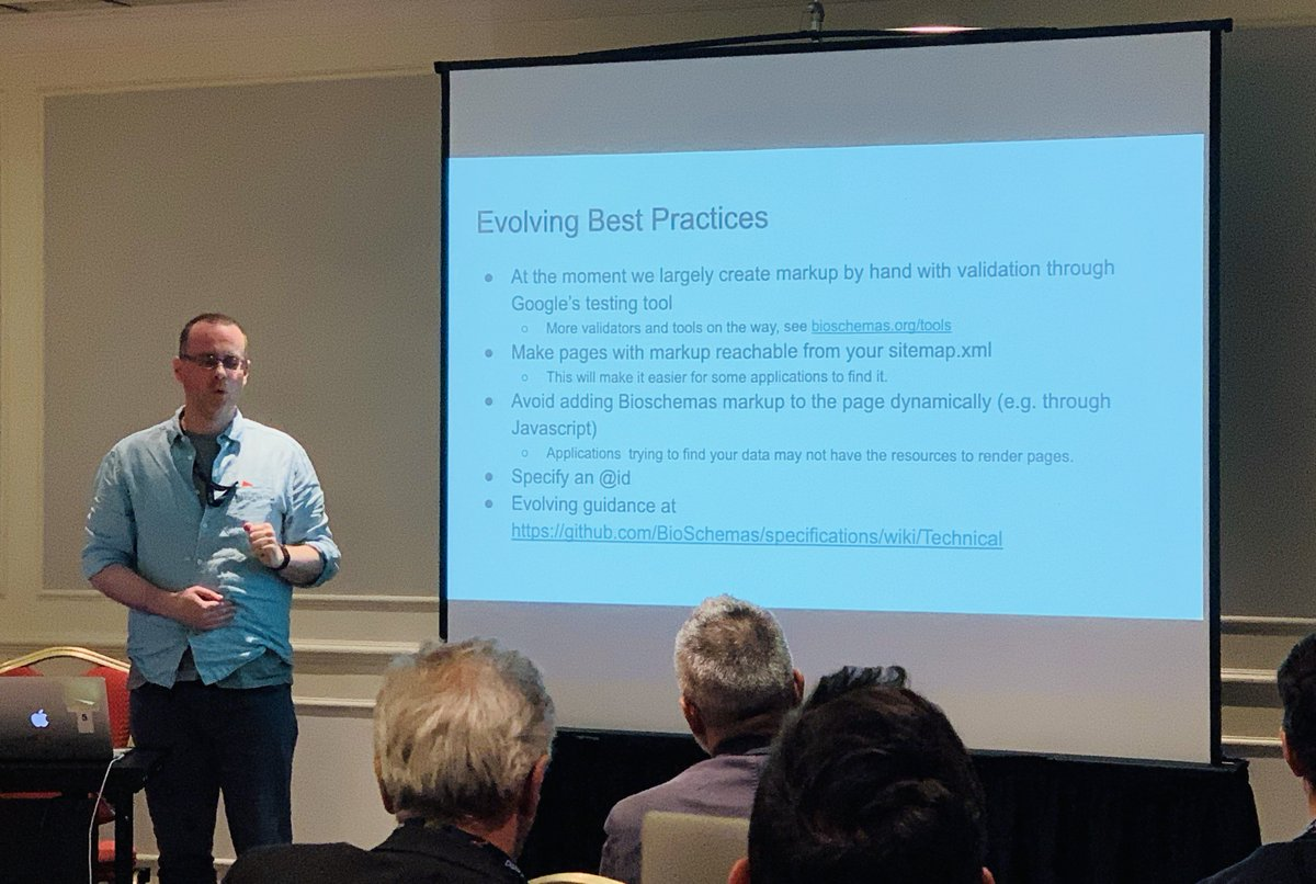 "Best practices are being shared in the ""Make your resources more discoverable on the Web with @Bioschemas markup"" with @gray_alasdair & Kenneth McLeod. Missed it? Find the materials from this #ELIXIR19 workshop here: https://bioschemas.org/meetings/2019-06_ELIXIRAllHands2019/ …"