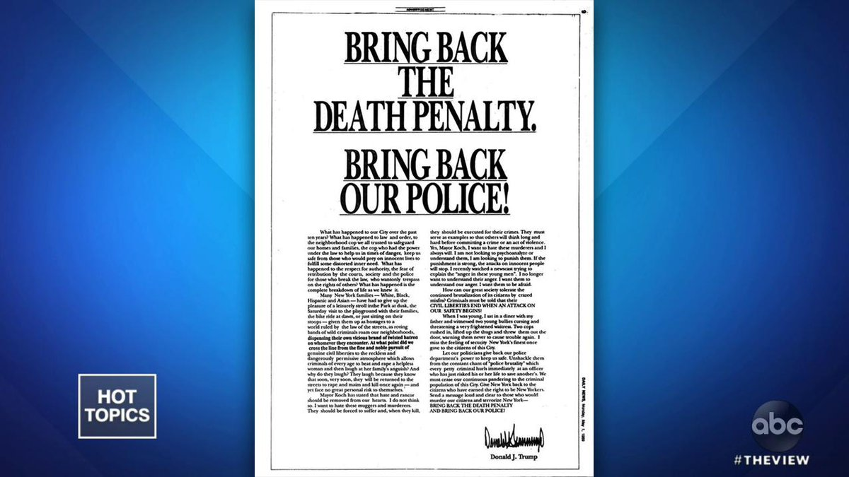 "TRUMP WON'T APOLOGIZE TO CENTRAL PARK 5: Pres. Trump is refusing to apologize to the five men wrongly convicted of rape in the 1989 Central Park Five case, saying ""they admitted their guilt."" The co-hosts weigh in. abcn.ws/2WV5mmD"
