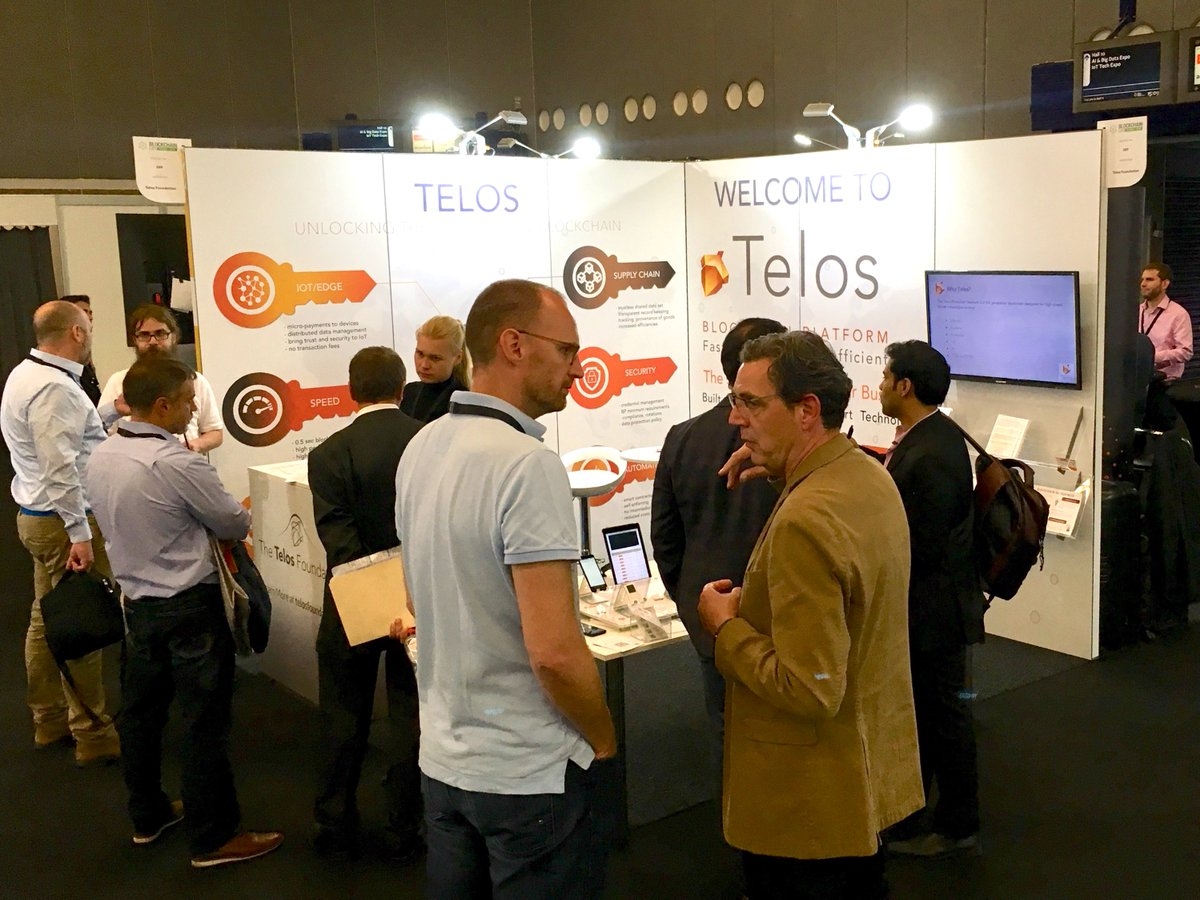 Day 1 here at @Blockchain_Expo #Europe has been busy 😅! The @HelloTelos booth is showcasing real-world #eosio solutions running on the #Telos #blockchain, from #IoT to #robotics, and more - come see us at booth #289 and #BuildOnTelos 💪 #TelosMeansBusiness