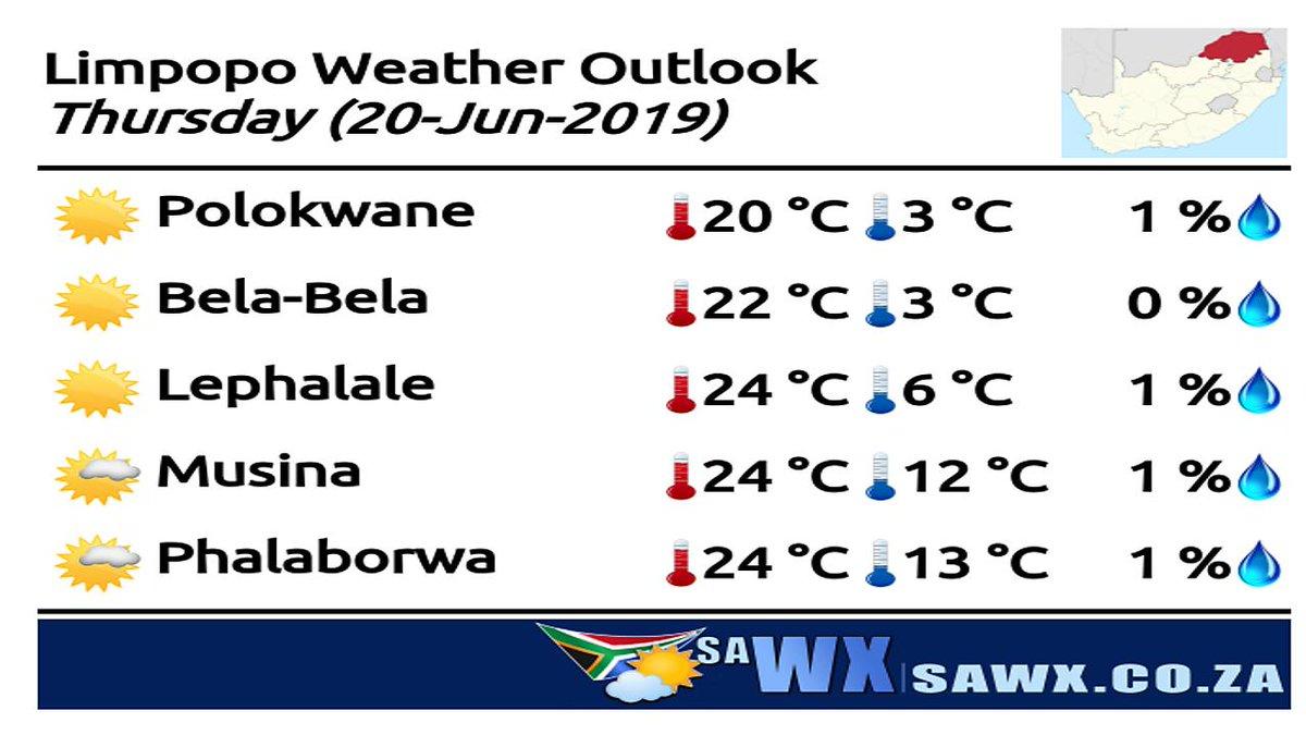 Thursday's Weather Outlook for Limpopo (2019-06-20)  Have a Gorgeous evening :)  WX On Your Mobile at https://sawx.co.za  #SAweather #SAwx #Polokwane #BelaBela #Warmbaths #Musina #Lephalale #Ellisras #Phalaborwa #Weather #Limpopo