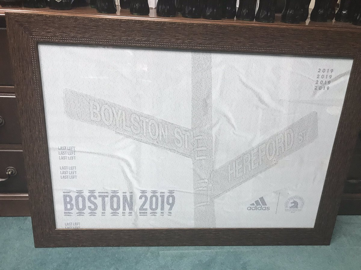 Amazing how a nice professional framing job can dress up a free poster!  #boston2019 #17consecutive #ihopetomakeit18 -#blessed<br>http://pic.twitter.com/WVQjHkk4yz
