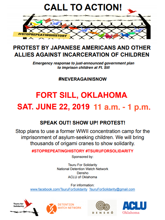 We will fight back against this country's plan to bring these concentration camps back at Fort Sill. Join us. @ACLUOK @DenshoProject @DetentionWatch #TsuruForSolidarity #StopRepeatingHistory