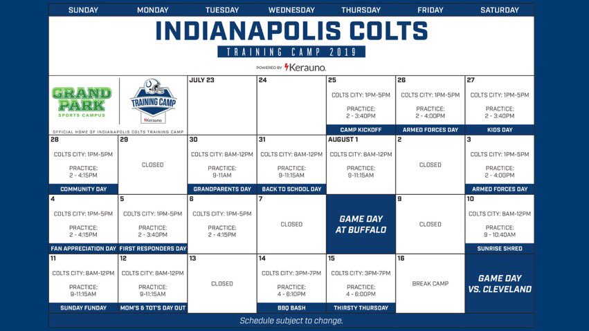 Reminder—- The Browns are coming to Grand Park August 14 and 15. FREE TICKETS AT colts.com/camp!!
