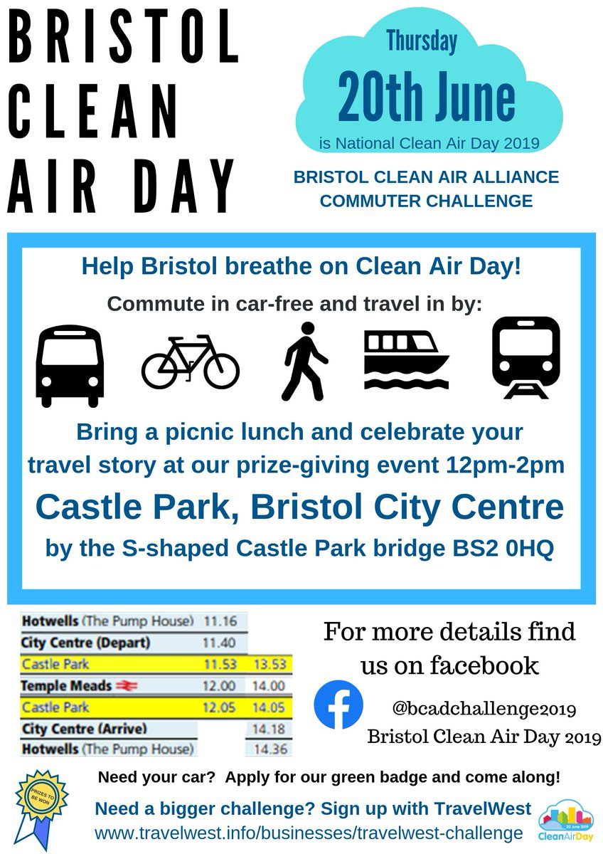 test Twitter Media - It's Bristol's Clean Air Day tomorrow - Thurs 20 June! Help Bristol breath clean air by commuting by bike.   Also, pack a picnic and share your travel story at Castle Park 12-2pm - to win prizes. @bcadchallenge2019 #cleanairday #twchallenge https://t.co/uEU4qR0Ujr