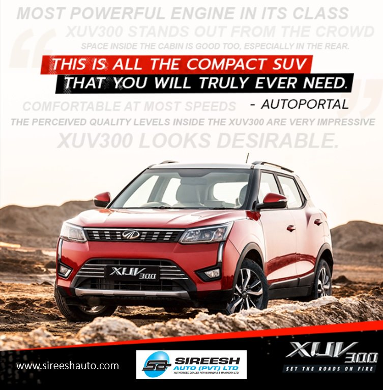 The best compact SUV! With its strong looks, well-appointed cabin and powerful diesel engine the new #XUV300 the perfect compact SUV.#WITHYOUHAMESHA #COMPACTSUV #SIREESHAUTO #SetTheRoadsOnFire #MahindraXUV300CALL NOW !! at ✆-9980549494 or visit http://www.sireeshauto.com