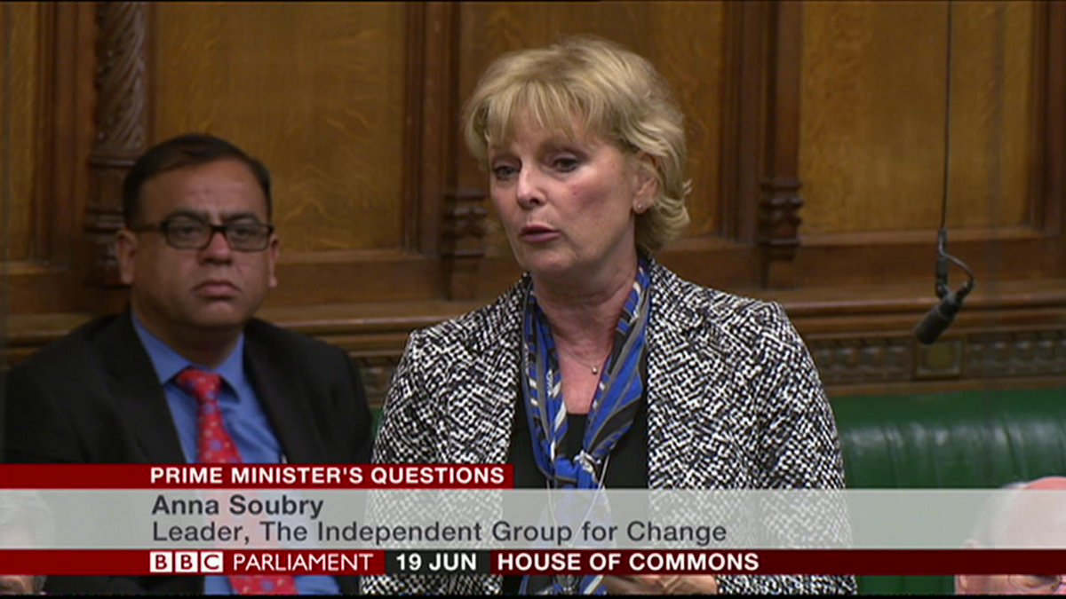 Independent Group for Change leader Anna Soubry asks if the government will make Parliament sit in September and October to avoid a no-deal #Brexit  http://bbc.in/2WVrbh6 #PMQs