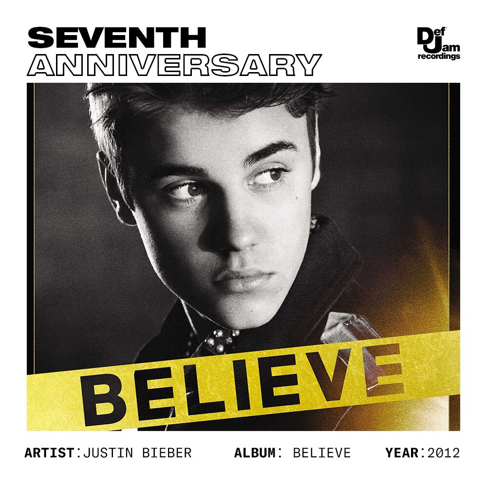 """Seven years ago today, @justinbieber dropped 'Believe.'  • Fourth #1 album of his career 🏆 • Triple Platinum 💿💿💿 • """"Boyfriend"""" 💿💿💿💿💿💿 • """"As Long As You Love Me"""" 💿💿💿💿 • """"Beauty and a Beat"""" 💿💿"""