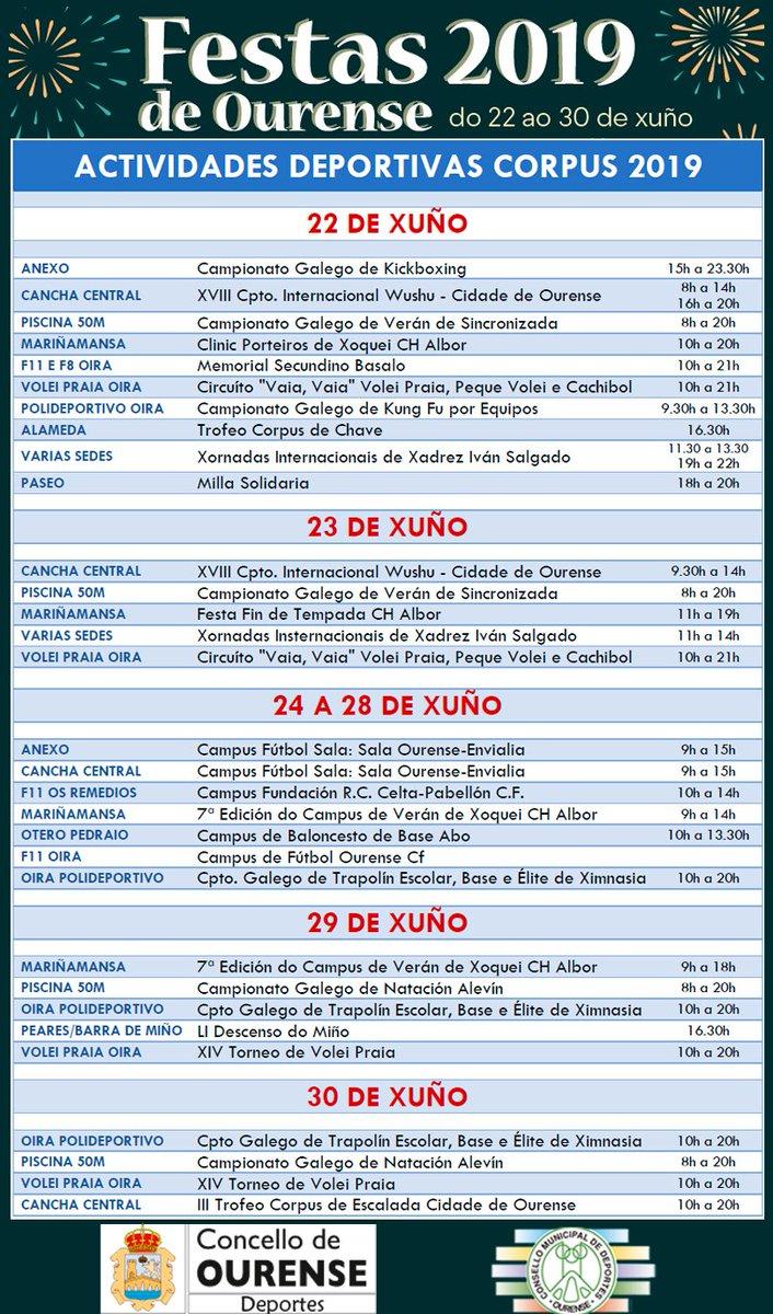 Máis de trinta de actividades e campionatos deportivos durante toda a semana nas Festas de Ourense: kickboxing, wushu, natación sincronizada, hóquei, fútbol, vólei praia, chave, xadrez, atletismo, fútbol sala, baloncesto, ximnasia deportiva, natación, piragüismo ou escalada.