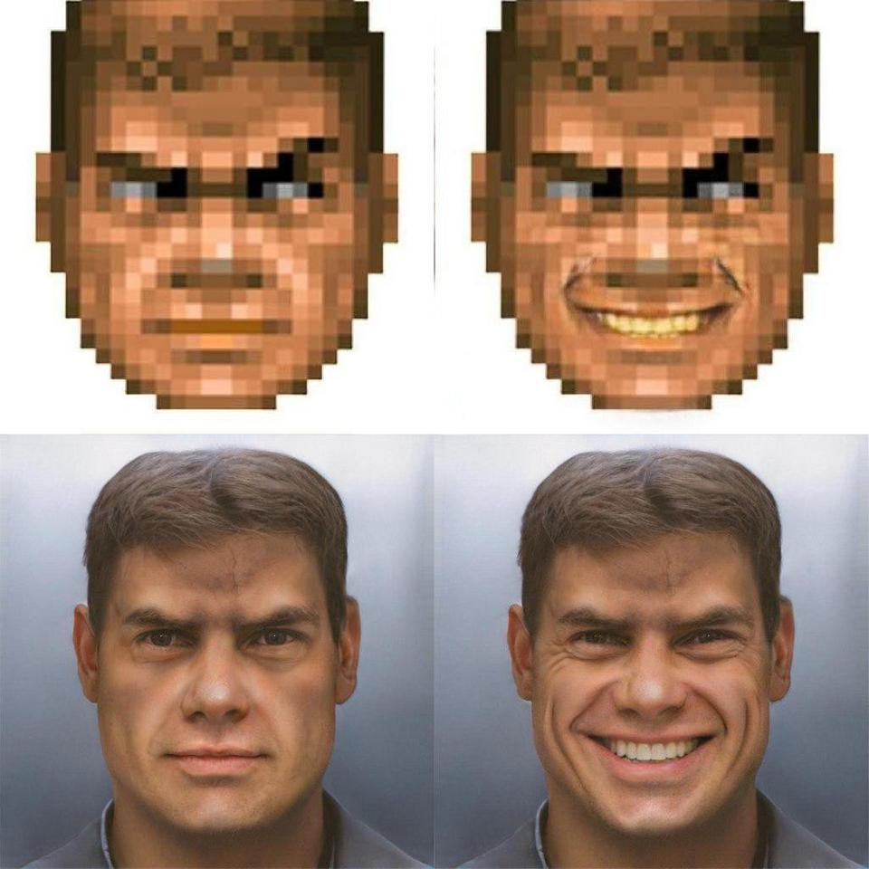 Neural Network (StyleGAN) draws Doom guy in high-res  #gamedev <br>http://pic.twitter.com/PkKqNMWhTl