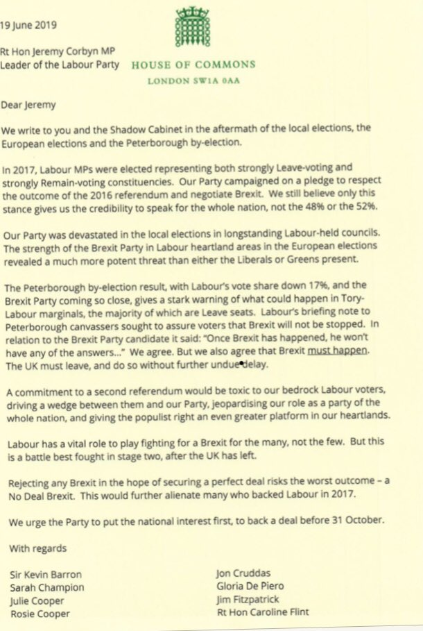 This is the full letter from @UKLabour MPs in leave areas to @jeremycorbyn opposing a decisive shift to a referendum and remain