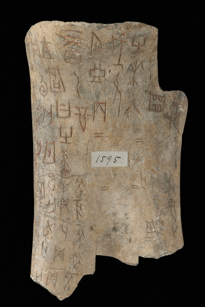 #Didyouknow Chinese characters can be traced back over 3,000 years? This oracle bone, used for divination in the late Shang dynasty (1300-1050 BC), is carved with some of the earliest Chinese characters - 'moon' (月 in modern Chinese) is visible at the top centre. #MakingYourMark <br>http://pic.twitter.com/A5ZJvKg1cO