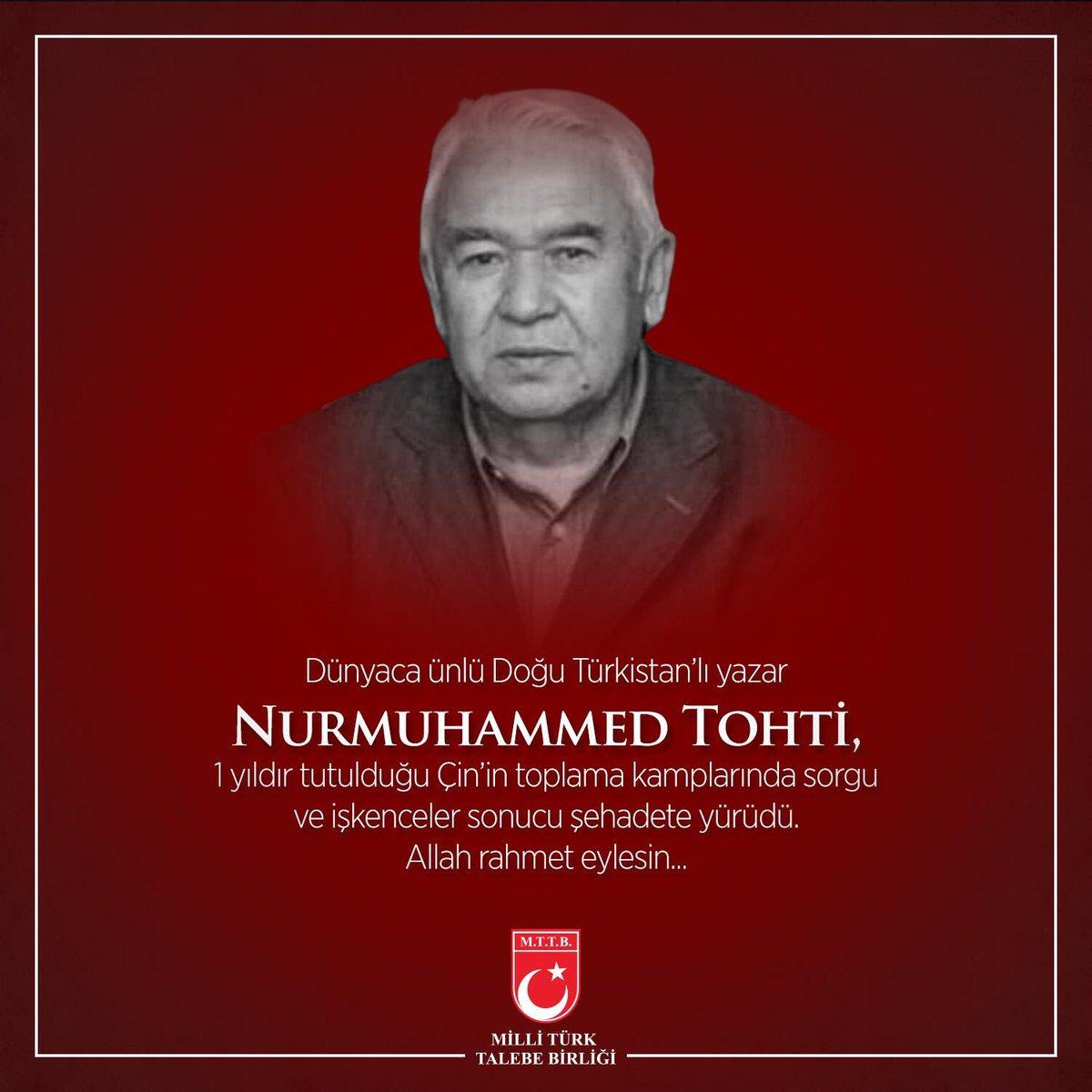 Dünyaca meşhur Doğu Türkistan'lı yazar #NurmuhammedTohti, 1 yıldır tutulduğu Çin'in toplama kamplarında sorgu ve işkenceler sonucu şehadete yürüdü.  Allah rahmet eylesin... 😢  #Şehadet 😔