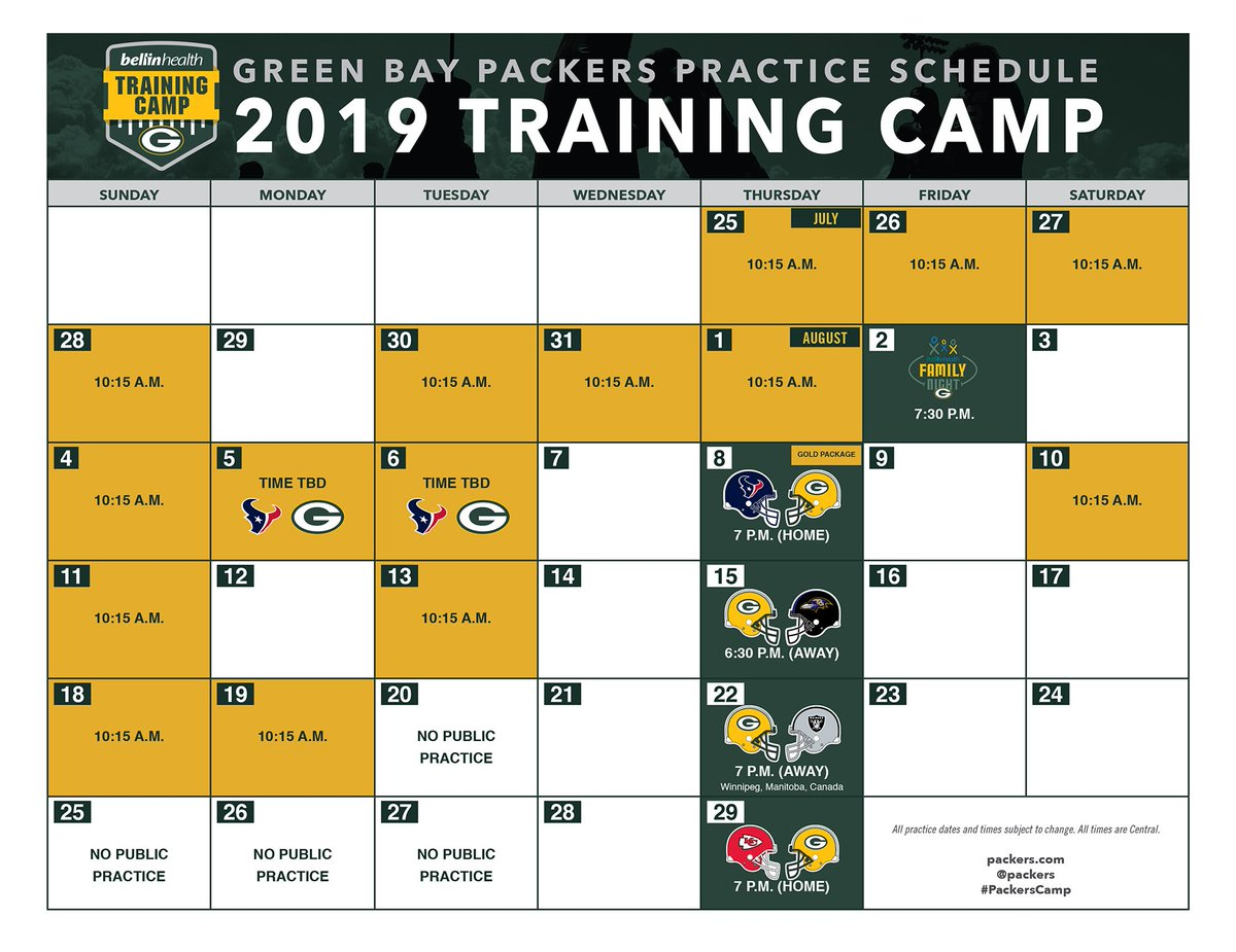 #PackersCamp 2019 will feature 16 public practices, including #FamilyNight (Aug. 2) & a pair of joint practices with the Houston Texans (Aug. 5-6)! 📅: packers.com/camp-schedule