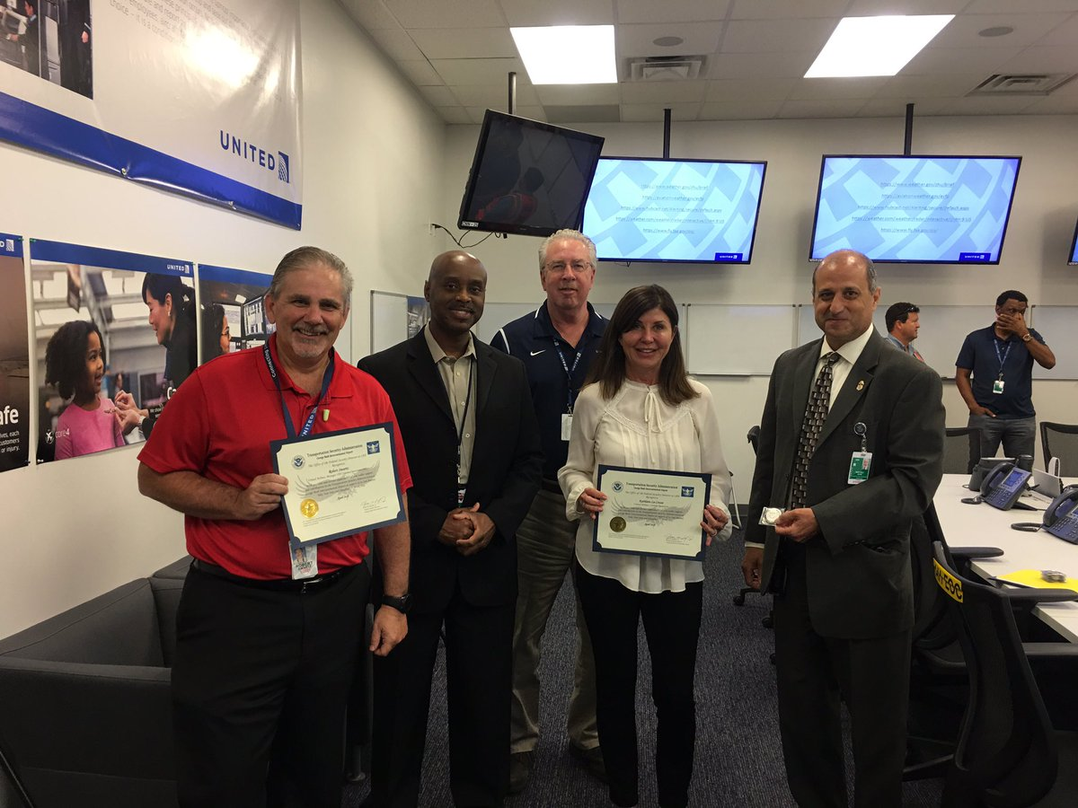 Awesome coordination from our IAH ops team with TSA bring your kids to work day! They recognized two of our stars today! @weareunited @rodney20148 @billwatts_11 @rich_kushner