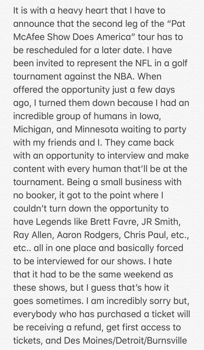 Good morning beautiful people... If you purchased tickets to our shows in Iowa, Detroit, & Burnsville.. We have 2 reschedule due to an incredibly poorly timed opportunity for the boys & I. I'm bummed, but I can't wait to meet you all. Please read below, I hope you understand.