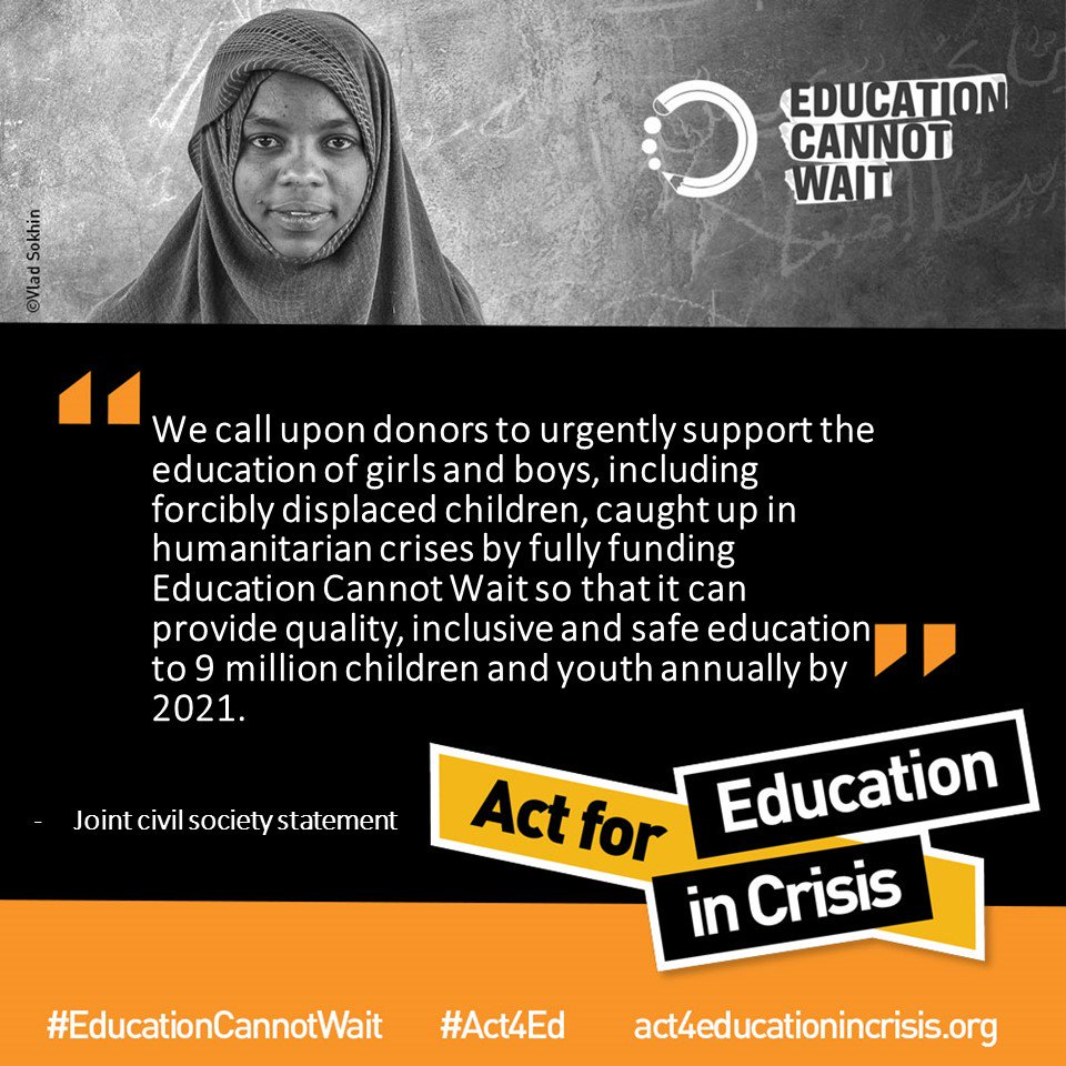 It's unacceptable that 9 million children in crisis are missing out on education.  We're joining with @educannotwait to call on governments, leaders and companies to ⬆️ funding for education.  It's time to #Act4Education -> https://act4educationincrisis.org/
