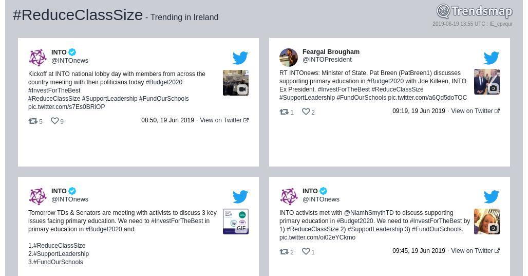 reduceclasssize hashtag on Twitter