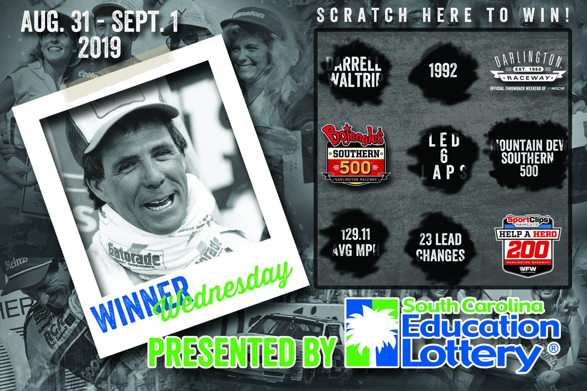 Yesterday, we asked who won the 1992 Mountain Dew Southern 500...   Y'all answered.   Welcome to #WinnerWednesday if your answer was: Darrell Waltrip 👏  #TooToughToTame || @sclottery