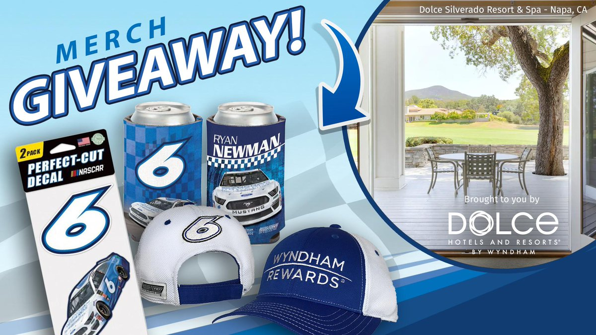 .@RyanJNewman and the #6 car will be reppin' Dolce Hotels this Sunday in Sonoma – and we're giving away a #TeamWyndham prize pack to mark the occasion. Tweet #WRDolceSweepstakes for a chance to win. NO PURCH NEC. Rules: https://a.pgtb.me/MVspZ9