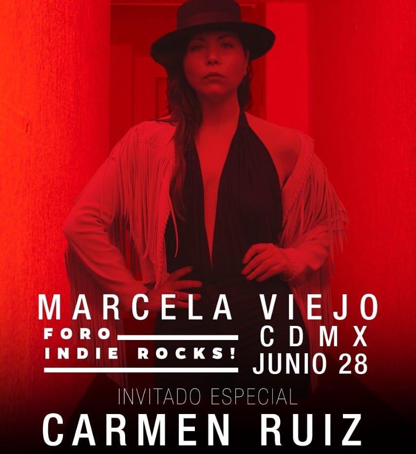 Marcela Viejo anuncia a dos invitados de lujo para su presentación en el Foro Indie Rocks! El próximo 28 de junio.  Christian Jean(Reyno) y Carmen Ruiz.  Los boletos aún están a la venta en  Boletia: https://t.co/HsHcw9Svlq https://t.co/eC219qi2We