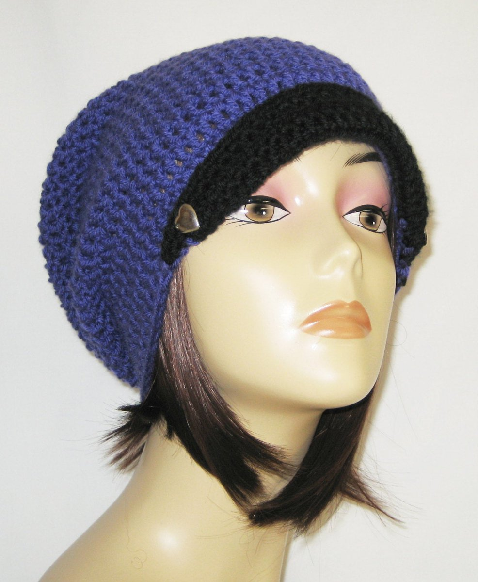 """flipped brim slouch,beanie,hat,cap,decorated with two buttons,made to fit teens & adults 21-23"""",purple with black brim http://tuppu.net/96465d21 #Jeniebugs #Etsy #Crochet"""