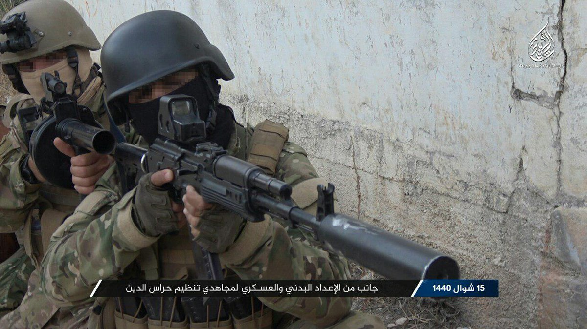"""[Thread] 1/6 #Sham #Idlib #Syria #AQ Hurras al-Din released a photo report about the training of their """"Special Forces"""". They used what appears to be their own training ground likely some ruins which are probably in #Latakia or #Idlib."""