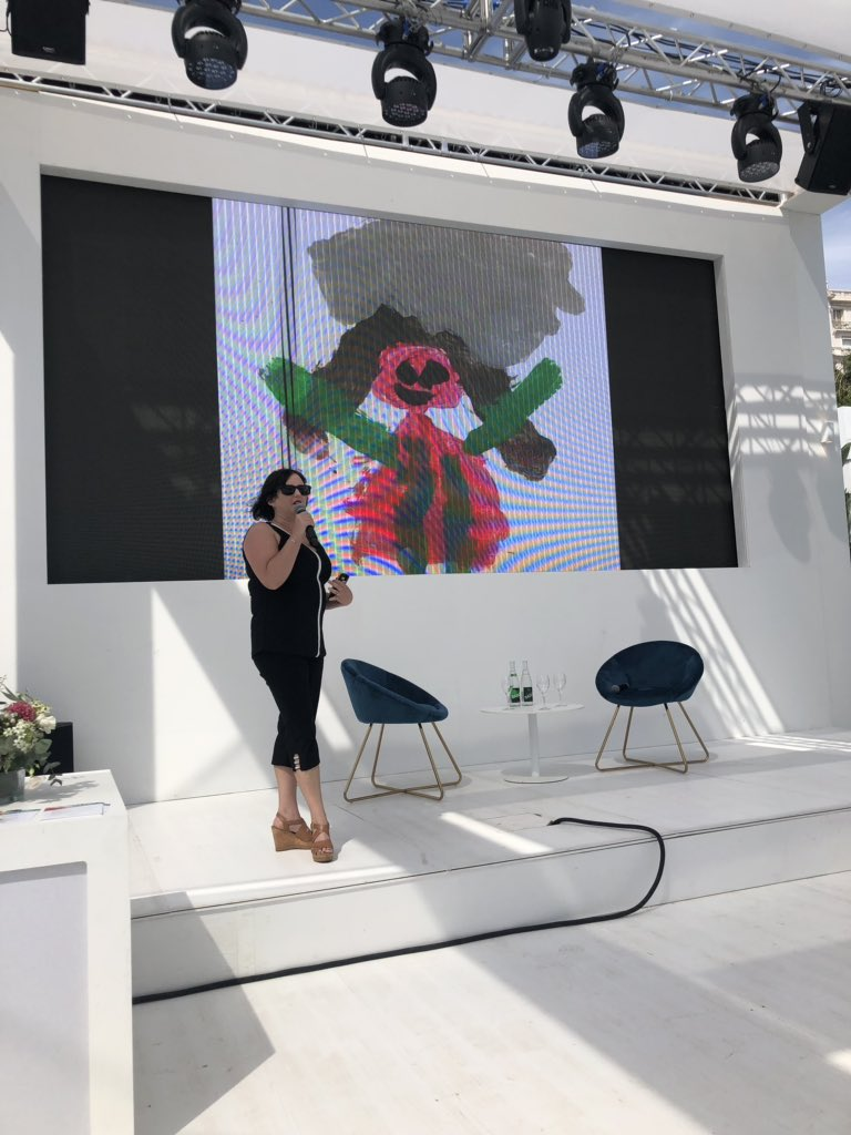 """""""Mom, that's the rock on your head"""" drawing was a moment of clarity that children mimic everything you do. It took my kids to say that things in my biz life weren't right,"""" said Erin Johnson @MrsOtz with @adscene @PMIScience #Cannes2019 #TeamDGC"""