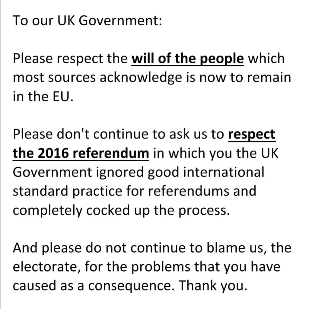 In fact you just came across as slightly deranged and spouting the same 'whataboutery' - look at the bogeyman! rubbish that we have had forced down our gullets for the last 3 years. It's impossible to respect any of you. Let's just #RevokeA50 and try to get back to sanity & peace<br>http://pic.twitter.com/FMzfxigOxx