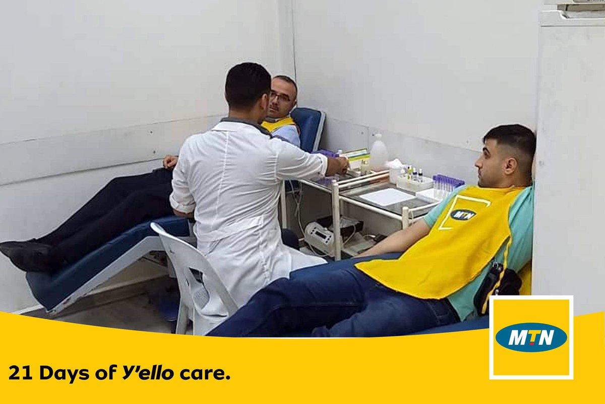شارك موظفي شركة MTN بمحافظة حلب في المبادرة الأولى ضمن برنامج 21 يوماً من رعاية ييلو حملة تبرع بالدم، في مركز نقل الدم في مدينة حلب دعماً لمرضى الثلاسيميا.  #Yellocare #MTNSYRIA #SYRIA #BrighterLives