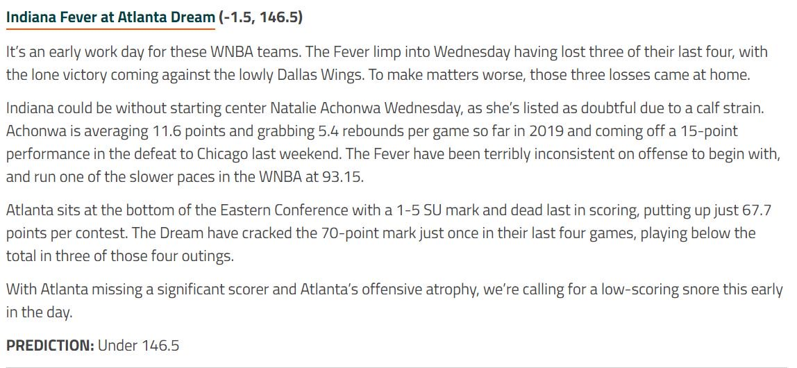 We've got an early 11 am ET tipoff in the #WNBA today: Indiana at Atlanta. Here's our top prediction for this game, and keep an eye out for our daily Lady Luck once more odds are released. WNBA matchup here: https://bit.ly/2Ltm56w
